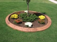 Border from decorative concrete, landscape