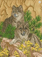 Outline for an embroidery of pictures beads Wolves