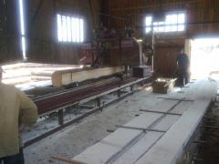 Glued bar, the log rounded, constructions and