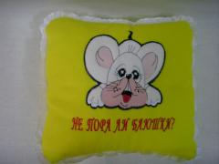 The pillows embroidered