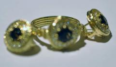 Гарнитур с дымчатыми топазами и бриллиантами