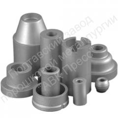 Flanges, plugs, flywheels, shaft from powder
