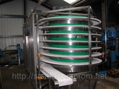 The conveyor on modular tapes, the spiral conveyor