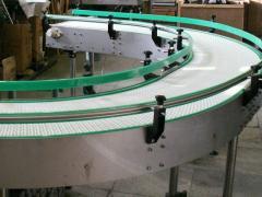 The conveyor on modular tapes, the spiral conveyor