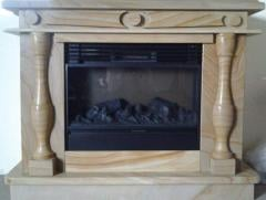 Fireplace from a stone quartzite mosaic