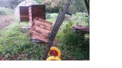 Two hand trucks for transportation of beehives,