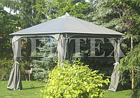 Awning and curtains on a 4-coal arbor with