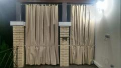 Curtains on an arbor