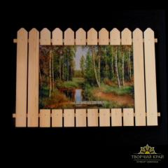 Pictures in a wooden frame