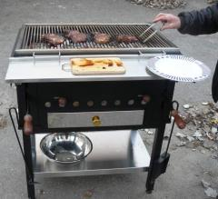 Grill with an adjustable brazier (analog of PEVA)