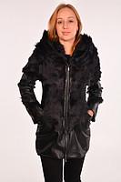 Кожаная женская куртка с мехом козы.Код: 096