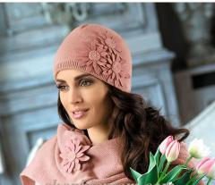 Шапки женские, Набор женский  шапка и шарф