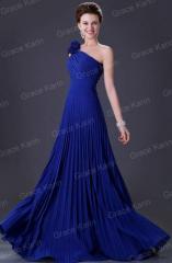 Синее вечернее выпускное платье плиссе от Grace