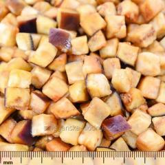Eggplant the frozen cube. The frozen vegetables.