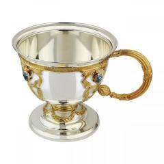 Чашка Царская из серебра 925 пробы с топазами