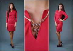 Bright youth dress. The Michel dress is scarlet.
