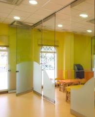 Glass sliding partitions