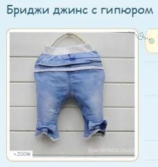 Бриджи джинс с гипюром , купить детскую одежду по