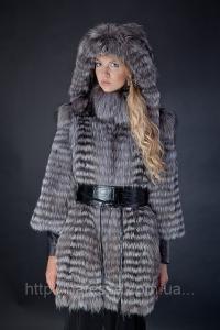 Меховое пальто из чернобурки, отделка из