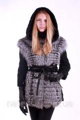 Short fur coat vest from a broadtail of