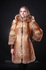 The fur coat a vest a vest from a fox with a hood,