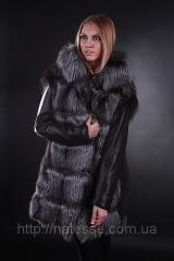Coat-jacket-vest fur of the silver fox with