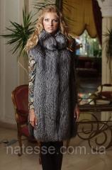 Жилет жилетка из цельной чернобурки (перфорация) Silverfox long vest