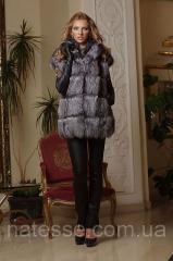 Жилет жилетка из чернобурки ярусами, длина 77 см, spliced silver fox fur vest silver fox fur gilet