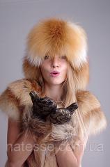 Малахай из лисы, верх кожаный, хвост съемный