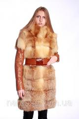 Fur coat-jacket-vest from a fox with a leather