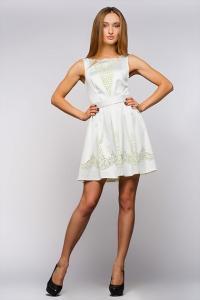 Атласное платье с расклешенной юбкой,