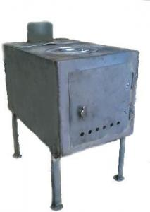 Potbelly stove with a flue