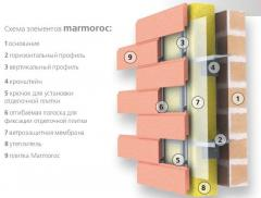 System of the hinged ventilated Marmoroc facades