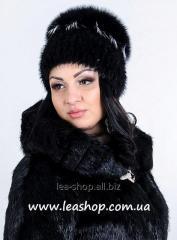 Fur cap from a polar fox, women's