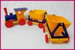 Поїзд-конструктор 2 прицепа 013784-2 (синій) 110см