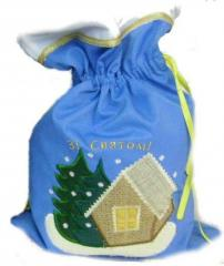 Gift sack the Winter izba with an embroidery, the