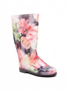 "Gumboots ""Lily on Black"