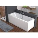 The bathtub is acrylic, rectangular, white ARCLINE
