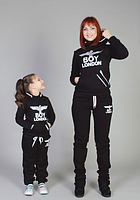 Женский и детский зимний спортивный костюм черного