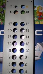 The push-button panel for elevators. Parts of