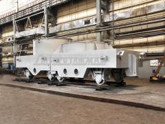Тележка на два шлаковых ковша предназначена для транспортировки между пролетами металлургических цехов