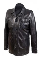 Мужской кожаный пиджак на пуговицах Модель №089,