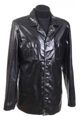 Мужской кожаный пиджак на пуговицах Модель №072