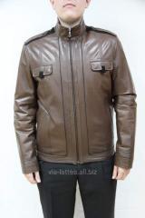 Мужская куртка кожаная короткая коричневая на