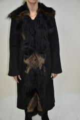 Женская дубленка овчина длинная черная