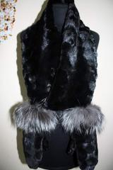 Mink fur mittens with finishing from fur of the
