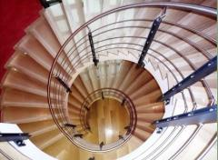 Spiral staircases from a stainless steel