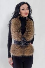 Vest raccoon, leather with fur