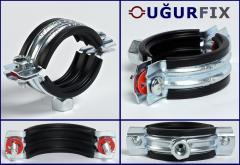 Хомут сантехнический UGURFIX с резиновой прокладкой