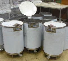 Trash bins from stainless steel. Meat-fish